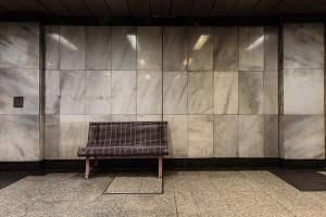 Bench at Földalatti station Deák Ferenc tér