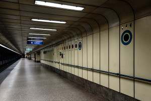 Bahnsteig des nördlichen M3-Terminus Újpest-Központ