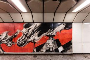 Damaged mural at Dózsa György út station