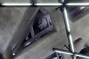 Concrete ceiling structure at Fovám tér station